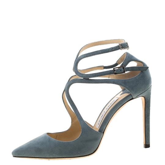 Jimmy Choo Suede Ankle Strap Pointed Toe Grey Sandals Image 1