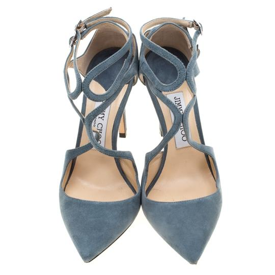 Jimmy Choo Suede Ankle Strap Pointed Toe Grey Sandals Image 2