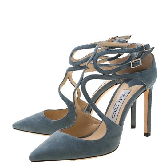 Jimmy Choo Suede Ankle Strap Pointed Toe Grey Sandals Image 3