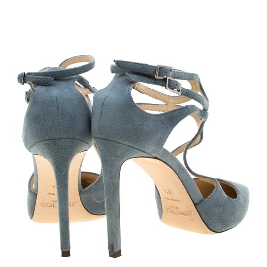 Jimmy Choo Suede Ankle Strap Pointed Toe Grey Sandals Image 4