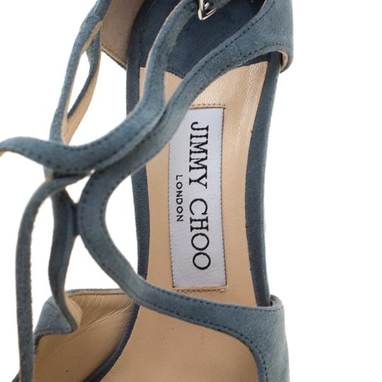 Jimmy Choo Suede Ankle Strap Pointed Toe Grey Sandals Image 6