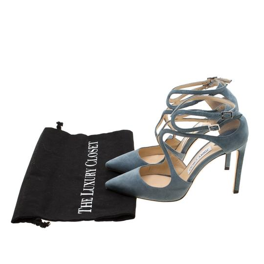 Jimmy Choo Suede Ankle Strap Pointed Toe Grey Sandals Image 7