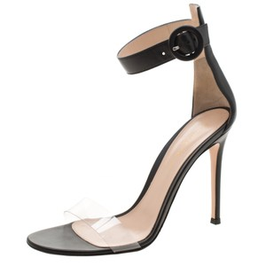 Gianvito Rossi Leather Ankle Strap Open Toe Black Sandals