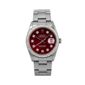 Rolex Rolex Datejust c36MM Red Diamond Dial With Stainless Steel Oyster