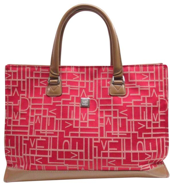 Item - Dvf Monogram Red Canvas / Leather Tote