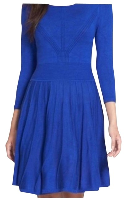 Item - Blue Cobalt 3/4 Sleeve Sweater Mid-length Night Out Dress Size 4 (S)