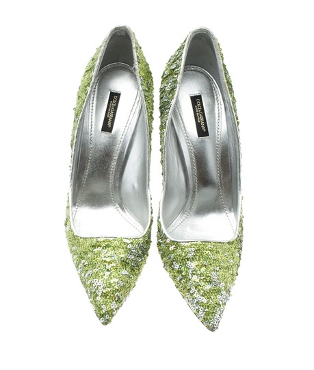 Dolce & Gabbana Heels Sequin Green Pumps Image 4