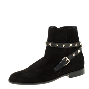 Valentino Suede Ankle Black Boots