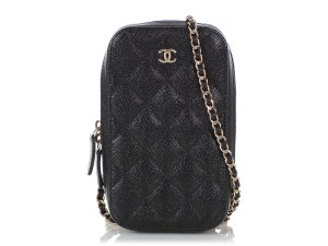 Chanel BLACK QUILTED CAVIAR LEATHER CROSSBODY PHONE CASE
