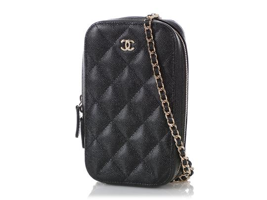 Chanel BLACK QUILTED CAVIAR LEATHER CROSSBODY PHONE CASE Image 1