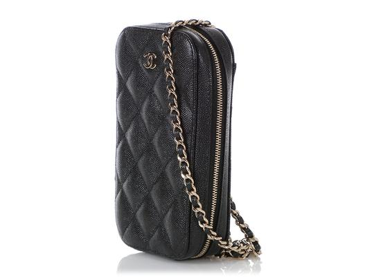 Chanel BLACK QUILTED CAVIAR LEATHER CROSSBODY PHONE CASE Image 2