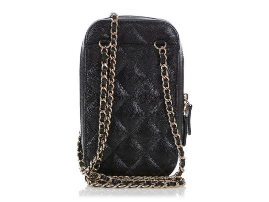 Chanel BLACK QUILTED CAVIAR LEATHER CROSSBODY PHONE CASE Image 3