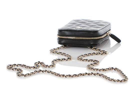 Chanel BLACK QUILTED CAVIAR LEATHER CROSSBODY PHONE CASE Image 6