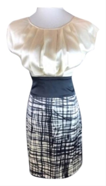 Item - Cream Black Ivory and Silk Stretch Short Work/Office Dress Size 0 (XS)