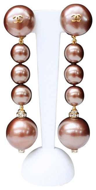 Item - Taupe Ultra Rare Vintage Gripoix Pearl C C Dangle Crystal Earrings