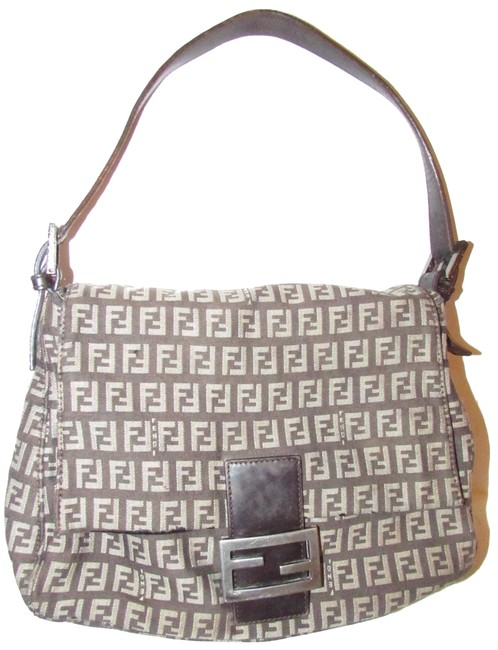 Item - Mamma Forever Zucchino Print Envelope Top Browns and Tan Canvas Leather Shoulder Bag