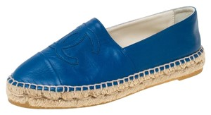 Chanel Leather Blue Flats