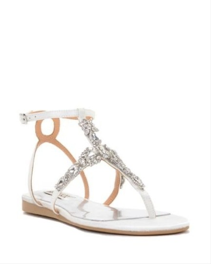 Badgley Mischka White Crystal Sandals Size US 8 Regular (M, B) Image 0