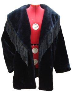 Donnybrook Vintage Fringed Faux Leather Oversized Fur Coat