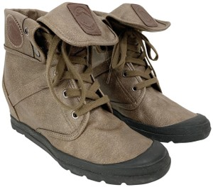 Palladium Wedge Faux Leather Brown Boots