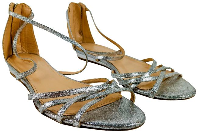 Item - Silver Cary Mini Wedge Sandals In Glitter Leather Strappy Flats Size US 7 Regular (M, B)