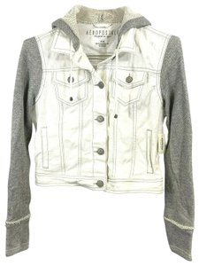 Aéropostale Knit White/Gray Womens Jean Jacket