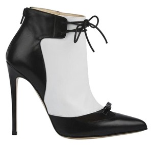 Bionda Castana Ankle Leather Lace Up Pointed Toe white, black Boots