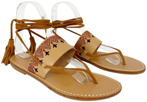 Soludos Leather Suede Embroidered Boho Tan Red Blue Sandals