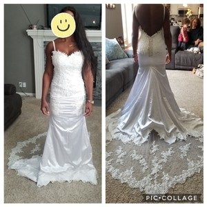 White Ivory Satin Lace Gown Sexy Wedding Dress Size 8 (M)