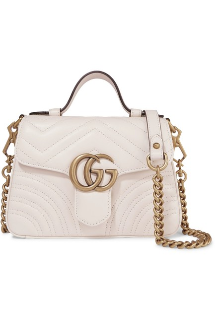 Item - Top Handle Marmont Gg Mini Quilted Leather White Shoulder Bag