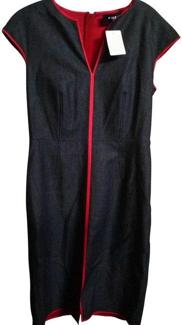 Item - Blue Denim Red 40fr Fitted with Piping Mid-length Casual Maxi Dress Size 12 (L)
