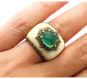 BUCCELLATI Buccellati 18k Two-Tone 18.4g Gold With Brazilian Emerald 17.4mm Ring Sz 4.75 #3