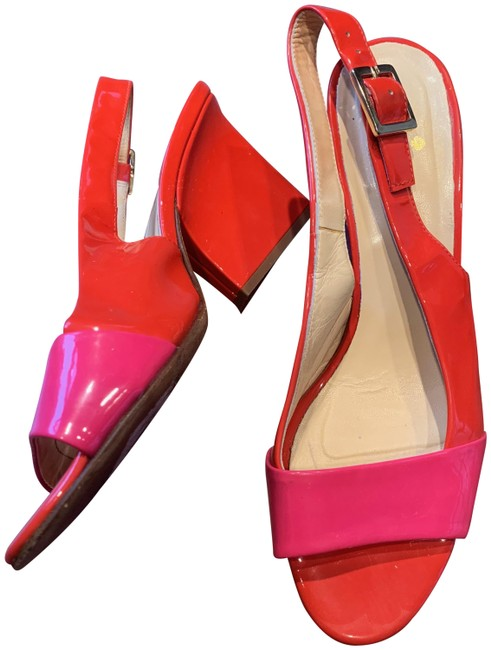 Item - Orange and Pink Two Tone Patent Leather Slingback Sandals Size US 7 Regular (M, B)