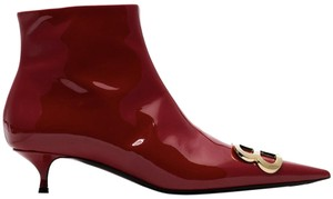 Balenciaga Patent Leather Pointed Toe Kitten Heel Logo Zippered Red Boots