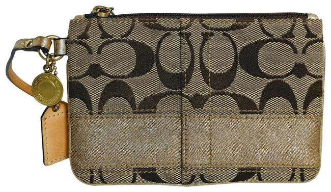 Item - Tan and Gold Fabric Leather Wristlet