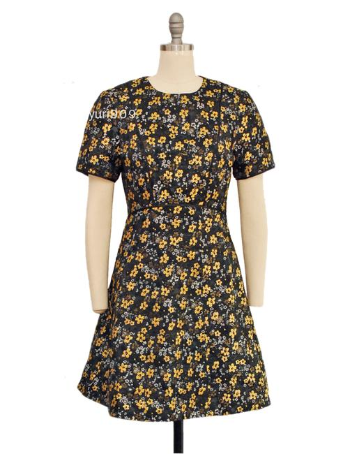 Item - Black Divwine Floral Print Jacquard Short Casual Dress Size 8 (M)