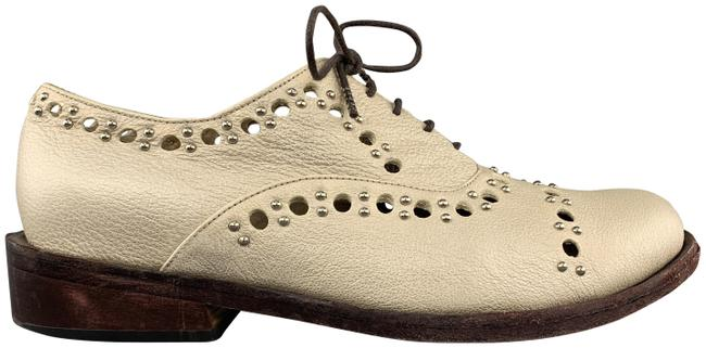 Item - Metallic Light Gold Perforated Studded Leather Formal Shoes Size US 7.5 Regular (M, B)