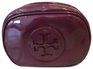 Tory Burch NWT TORY BURCH STACKED PATENT SMALL COSMETIC CASE BAG CLUTCH RED AGATE