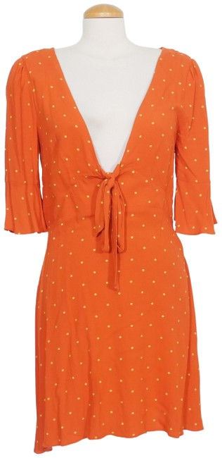 Item - Flame Red All Yours Polka Dot A-line Mini Short Casual Dress Size 8 (M)