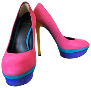 B Brian Atwood bright pink, purple, yellow, blue Platforms