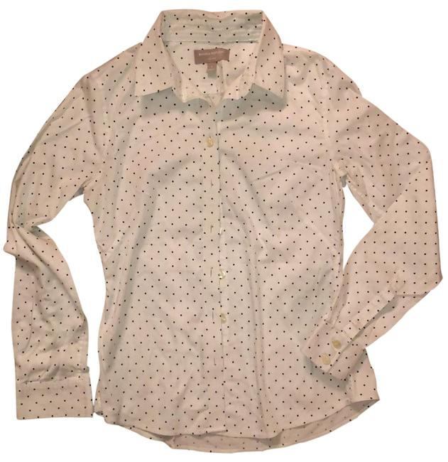 Item - White with Black Dotted Non Iron Button-down Top Size 4 (S)