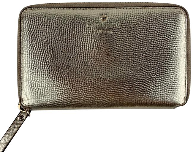 Item - Ny Saffiano Zip Around Wallet Gold Leather Wristlet