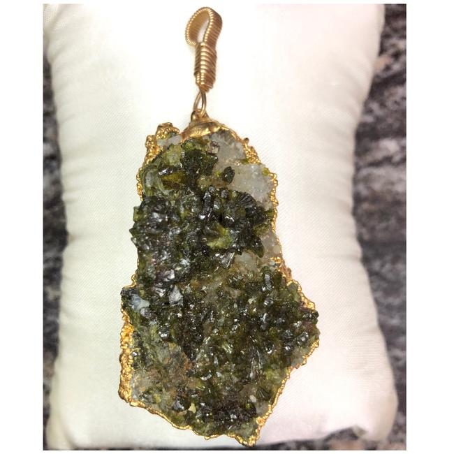 Item - Dark Green White & Yellow Gold 10kt Filled L Druzy Pendant