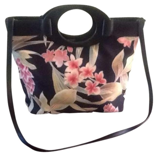 Item - Hawaiian Print Black with Floral Cotton Cross Body Bag