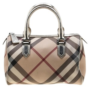 Burberry Patent Leather Leather Satchel in Silver
