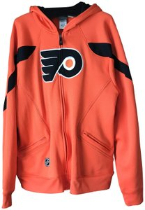 Reebok Men's Large Philadelphia Flyers Zip-up Hooded Logo Orange w/Black Jacket