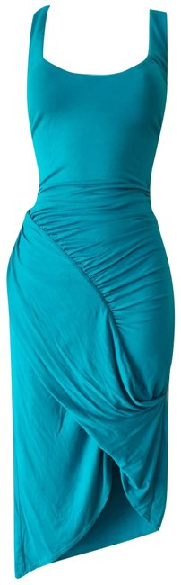 Item - Blue Teal Green Sleeveless Draped Drape Tulip High Low Mid-length Night Out Dress Size 8 (M)