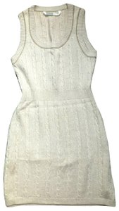 Athleta short dress Beige Sleeveless Cable Knit Knitted Sweater Cashmere Cotton on Tradesy