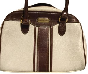Aurielle Carryland Satchel in Cream with brown trim.