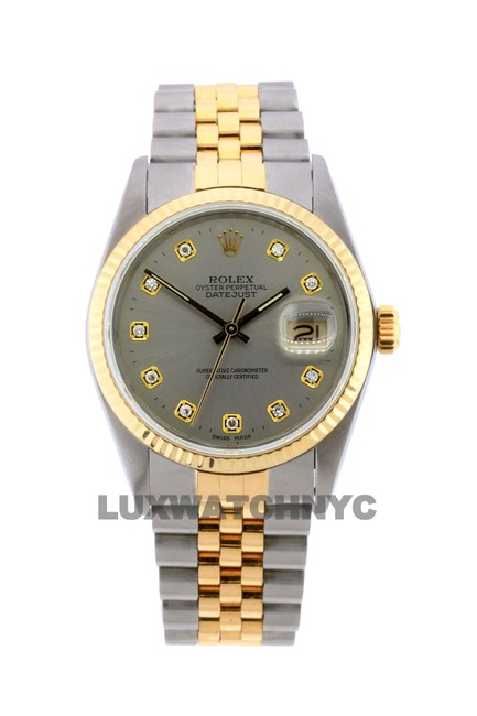 Rolex Gray Dial 36mm Dateust 2tone with Appraisal Watch Rolex Gray Dial 36mm Dateust 2tone with Appraisal Watch Image 1